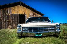 Lowered Car In Field With Barn Near Elizabeth Colorado