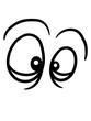 canvas print picture - 2 augen augenringe gucken sehen verrücktes gesicht lustig grimasse schielen spaß comic cartoon clipart kopf komisch witzig frech design