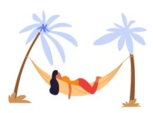 Woman Lying In Hammock Under Palms Isolated Character
