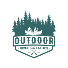 Logo Outdoor Adventure Using A Canoe Boat In A Natural Forest River Badge Design