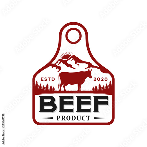 Photo Cattle farm logo design - angus cow farm, butcher logo