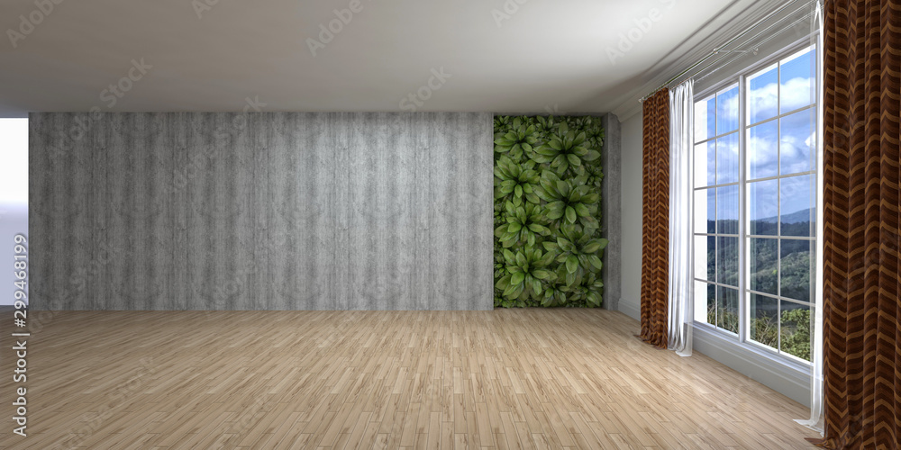 Fototapety, obrazy: Empty interior with window. 3d illustration
