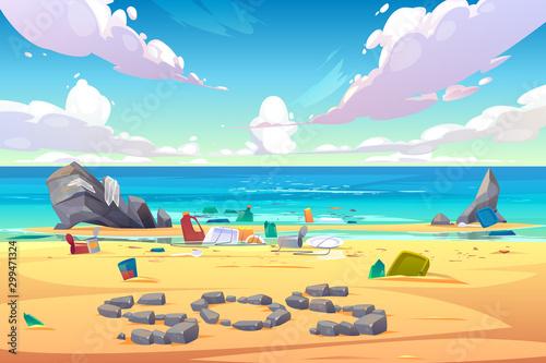 Ocean pollution, trash on beach Obraz na płótnie