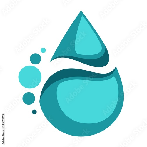 Valokuvatapetti Water drop isolated icon abstract drink label
