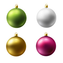 Realistic Christmas Holiday Balls Isolated On A White Background. Matted Glass.