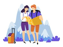 Tourism Hiking Couple With Backpacks Suitcase And Map In Mountains