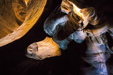 Canyoneer Rappels In Beautiful Sandstone Canyon