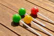 canvas print picture - three colors lollipop candy