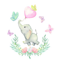 Elephant Watercolor Drawing. Cute Baby Elephant Is Running, Surrounded By Beautiful Butterflies, And Tropical Plants And Flowers. Set On Isolated Background. For Children's Cards And Invitations.