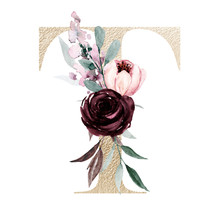 Floral Alphabet, Letter T With Watercolor Flowers And Leaf. Gold Monogram Initials Perfectly For Wedding Invitations, Greeting Card, Logo, Poster And Other Design. Holiday Design Hand Painting.