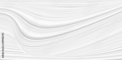 Foto auf Gartenposter Abstrakte Welle White 3 d background with wave illustration, beautiful bending pattern for web screensaver. Light gray texture with smooth lines for a wedding card.