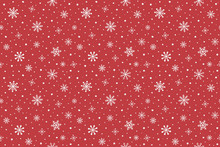 Minimalist Winter Pattern With Hand Drawn Snowflakes. Christmas Background. Vector