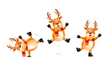 Collection Of Cute Cartoon Reindeer With Scarf. Merry Christmas And Happy New Year. Illustration Isolated On White Background.