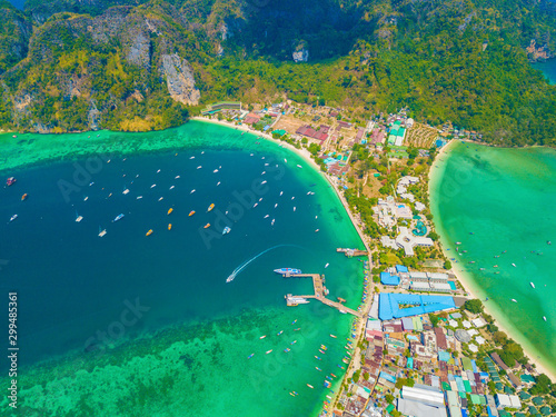 Montage in der Fensternische Blau türkis Aerial view of Phi Phi, Maya beach with blue turquoise seawater, mountain hills, and tropical green forest trees at sunset with Andaman sea in Phuket island in summer, Thailand in travel trip. Nature.