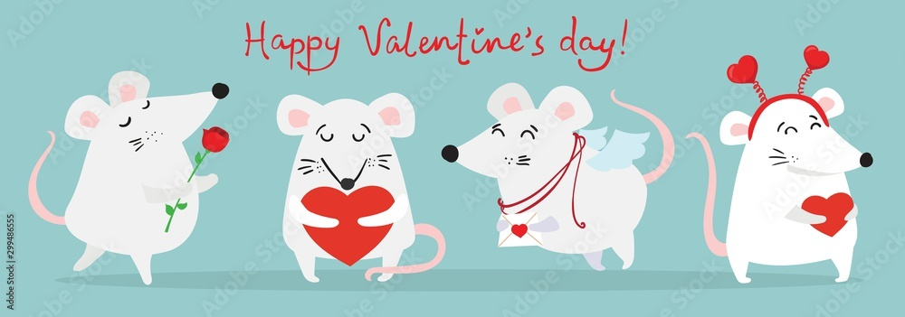 Fototapeta Vector illustration card with cute cartoon little Valentine mouse or rat in love with heart