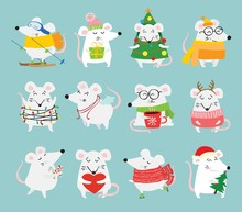 New Year And Christmas Rat Set - Symbol Of The Year. Simple Illustration For The Greeting Cards