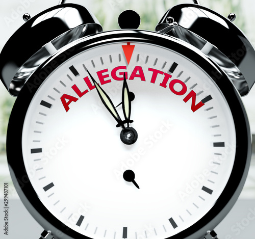 Allegation soon, almost there, in short time - a clock symbolizes a reminder tha Canvas Print