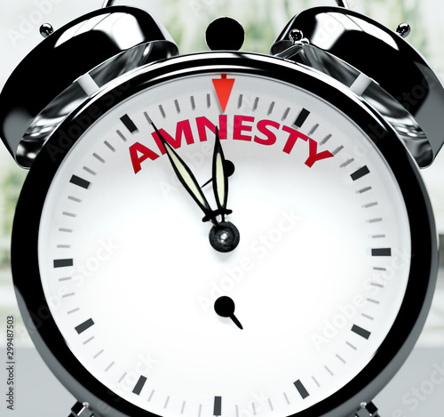 Amnesty soon, almost there, in short time - a clock symbolizes a reminder that A Canvas Print