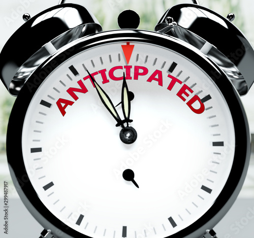Photo Anticipated soon, almost there, in short time - a clock symbolizes a reminder th
