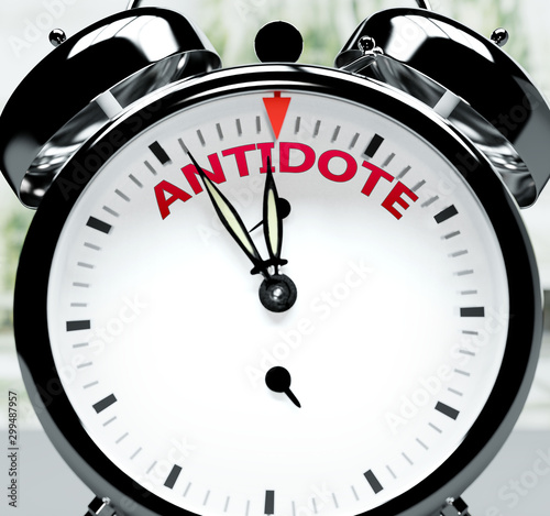 Photo Antidote soon, almost there, in short time - a clock symbolizes a reminder that