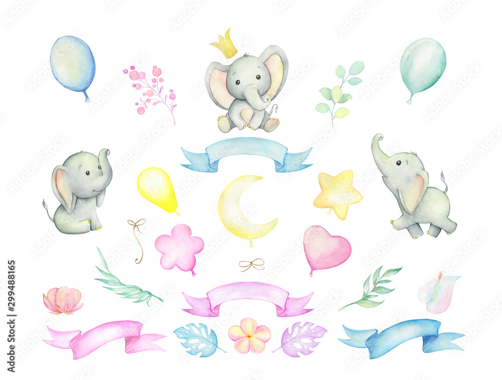 Little elephants, tropical plants, balloons, ribbons. Watercolor set. Set on isolated background. For children's cards and invitations. <span>plik: #299488165 | autor: Natalia</span>