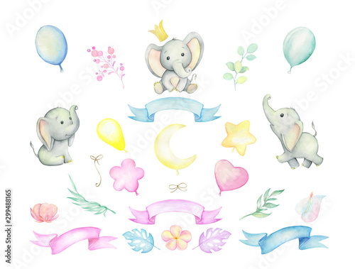 Little elephants, tropical plants, balloons, ribbons Wallpaper Mural