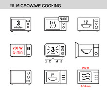 Microwave Oven Icons Set. Vector Illustration White Background Ready For Your Design. EPS10.