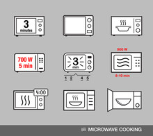 Microwave Oven Icons Set. Vector Illustration Grey Background Ready For Your Design.EPS10.