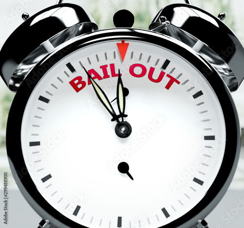Bail out soon, almost there, in short time - a clock symbolizes a reminder that Wallpaper Mural