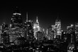 Night view of Midtown Manhattan and Hell's Kitchen, black and white
