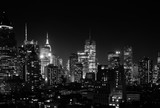 Fototapeta Nowy Jork - Night view of Midtown Manhattan and Hell's Kitchen, black and white