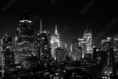 Fototapety, obrazy: Night view of Midtown Manhattan and Hell's Kitchen, black and white