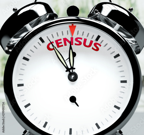 Census soon, almost there, in short time - a clock symbolizes a reminder that Ce Tablou Canvas