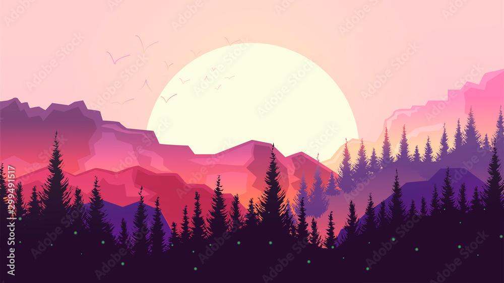 Fototapeta Sunset in the mountains, beautiful landscape, big sun, forest silhouette.