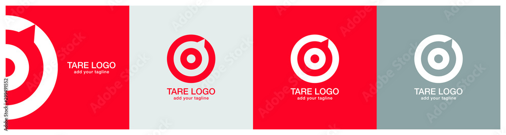 Fototapeta Target logo design on red, ash and grey backgournd. The logo represents Red aim, arrow, compass, speech bubble, Idea concept, perfect hit, winner, target goal icon. Corporate identity set.