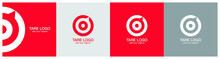 Target Logo Design On Red, Ash And Grey Backgournd. The Logo Represents Red Aim, Arrow, Compass, Speech Bubble, Idea Concept, Perfect Hit, Winner, Target Goal Icon. Corporate Identity Set.