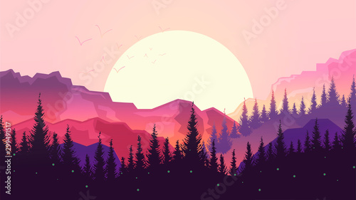 Papiers peints Prune Sunset in the mountains, beautiful landscape, big sun, forest silhouette.