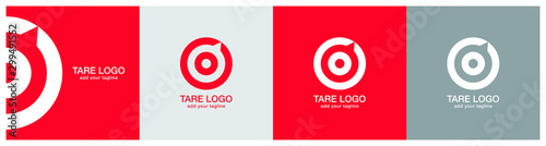 Fotografía  Target logo design on red, ash and grey backgournd