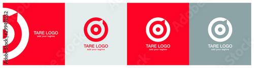 Fotografía Target logo design on red, ash and grey backgournd