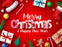 Christmas Vector Banner Design. Merry Chistmas Greeting 3d Realistic Typography Text With Xmas Decoration Elements Of Santa Hat, Sock, Gift, Balls, Candy Cane, Pine Leaves, And Gingerbread In Red Back