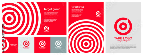 Target logo. Red aim, arrow, compass, speech bubble, Idea concept, perfect hit, winner, target goal icon. Success abstract logo. Corporate identity set. Poster design in horizontal and vertical.