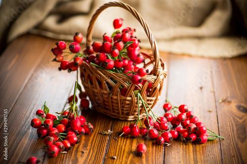 Obraz ripe red dogrose in a basket on a wooden - fototapety do salonu