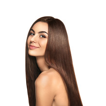 Portrait Of Beautiful Young Woman With Healthy Long Hair On White Background
