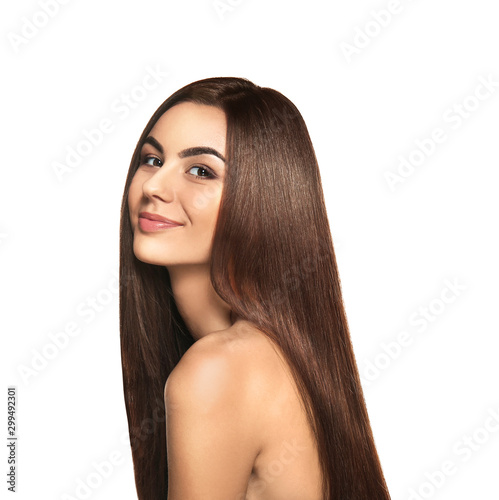 Obraz Portrait of beautiful young woman with healthy long hair on white background - fototapety do salonu