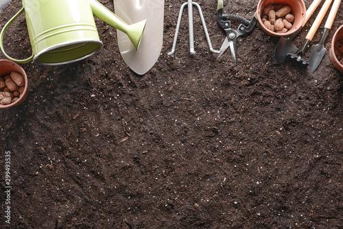 Cadres-photo bureau Jardin Set of gardening equipment on soil