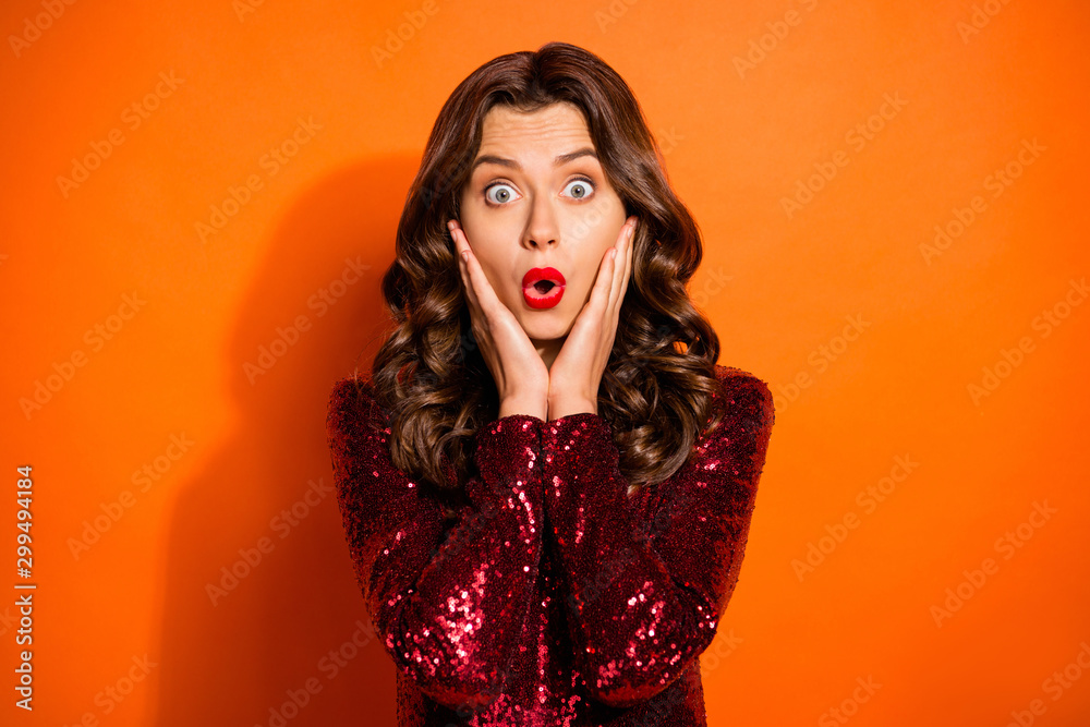 Fototapety, obrazy: Close-up portrait of her she nice attractive gorgeous chic astonished wavy-haired girl showing amazement expression isolated over bright vivid shine vibrant orange color background