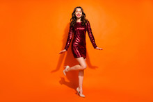 Full Length Body Size View Of Her She Nice Attractive Smart Pretty Feminine Gorgeous Cheerful Cheery Wavy-haired Girl Posing Having Fun Isolated Over Bright Vivid Shine Vibrant Orange Color Background