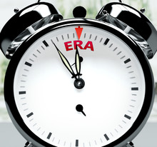 Era Soon, Almost There, In Short Time - A Clock Symbolizes A Reminder That Era Is Near, Will Happen And Finish Quickly In A Little While, 3d Illustration