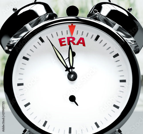 Era soon, almost there, in short time - a clock symbolizes a reminder that Era i Canvas Print