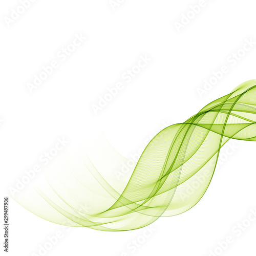 Foto auf Leinwand Abstrakte Welle Abstract background with green transparent wavy lines.